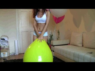 134. B. Ann playing with big balloons pop and non pop